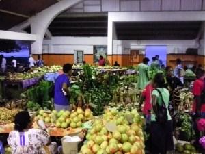 Abundance of food in Port Vila food growers' market.
