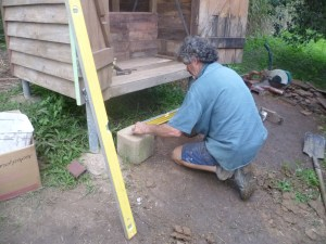 Building the steps to the outhouse