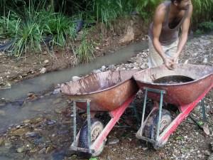 Dani getting creek rock for the grease trap