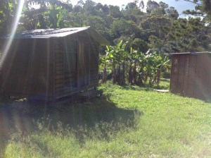 One of the cabins used for student accommodation at the Permaculture Research Institute Sunshine Coast. The cabin has a queen bed and a bunk.