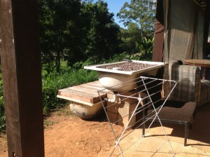 An aquaponics installation was put together by interns during the Urban Focus internship at the Permaculture Research Institute Sunshine Coast earlier in 2014.