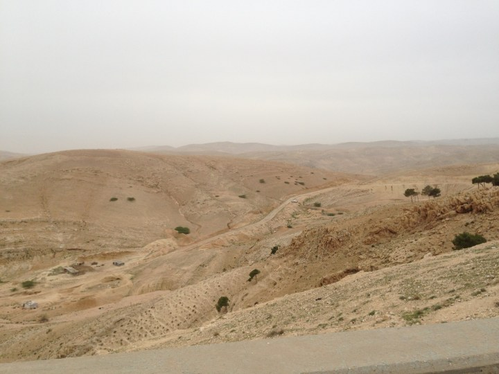 Tom Kendall views overgrazed land in Jordan.