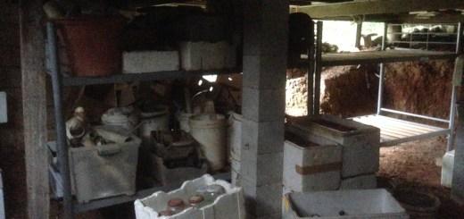 Tom Kendall reusues bed frames as storage racks at Maungaraeeda.
