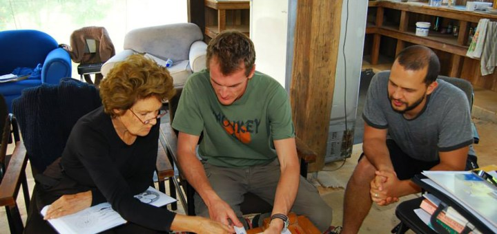 Students studying the PDC at the Permaculture Research Institute Sunshine Coast, accredited PDC course