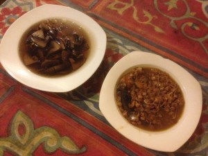 Mushroom chicken soup and mushroom sprouted lentil soup during the PDC course with PRI Sunshine Coast
