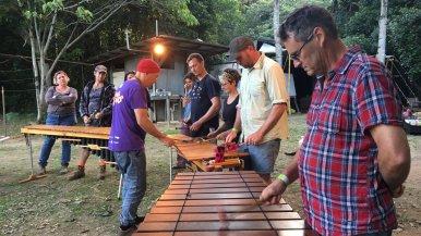 Marimba playing at the music jam