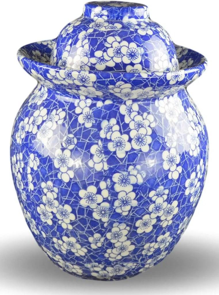 blue floral fermenting crock for kimchi and sauerkraut