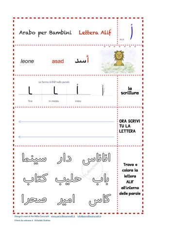 esercizi semplici di alfabeto arabo per bambini - lettera alif