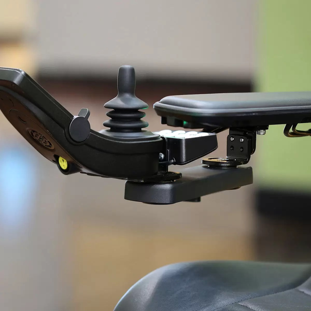 office chair joystick mount cover hire manchester uk permobil retractable