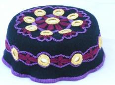 Hand Made Felt Hat with Hand Stitching and Shisha Mirrors