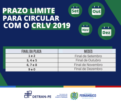 DETRAN divulga prazo limite para circular com documento de veículo do ano 2019