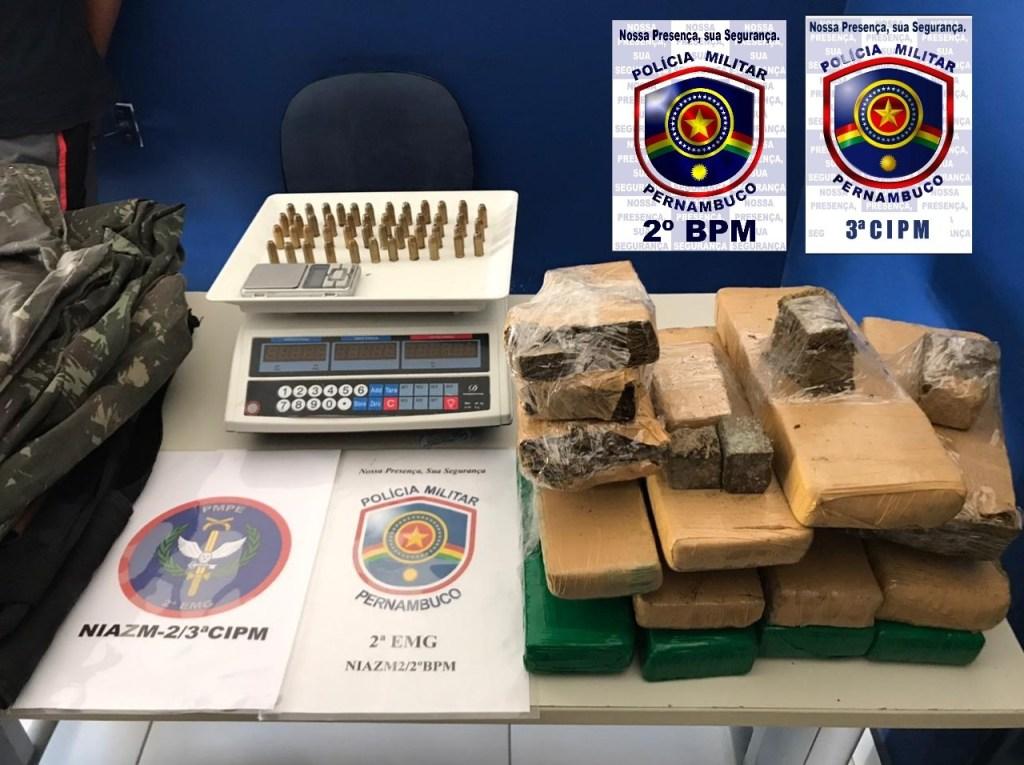 Policiais Militares prendem suspeito de tráfico de drogas e apreendem 11 kg de maconha e munições