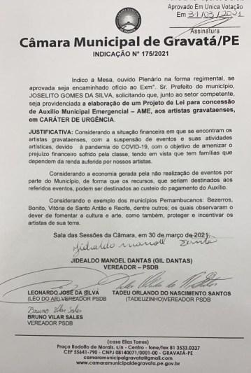 Gil Dantas, Léo do AR, Tadeuzinho e Bruno Sales indicam auxílio emergencial para artistas de Gravatá