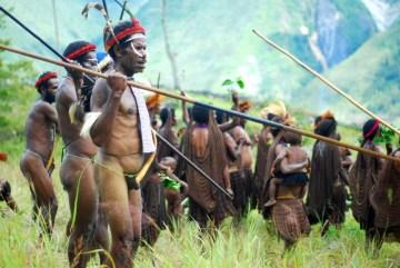 Papuascy wojownicy w tradycyjnych strojach