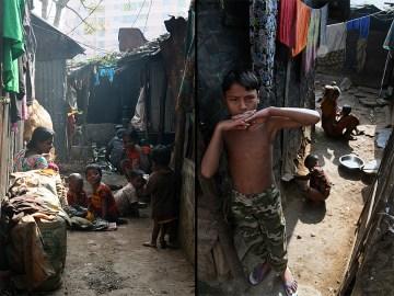 Mieszkańcy azjatyckich slumsów