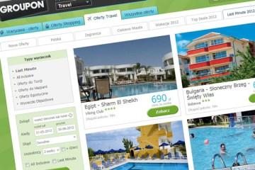 Strona z ofertami turystycznymi Groupona.