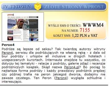Peron4 otrzymał wyróżnienie od tygodnika Wprost.