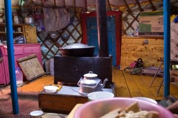 Wnętrze jurty - foto z Mongolii