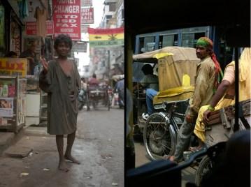 Indie, Delhi. Chłopiec mieszkający na ulicy i rikszarz.