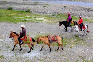 Rodzina nomadów w Tybecie