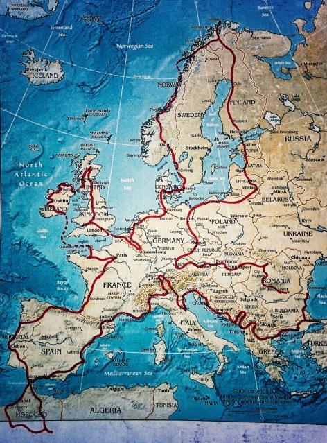 Motocyklem wokół Europy, trasa podróży