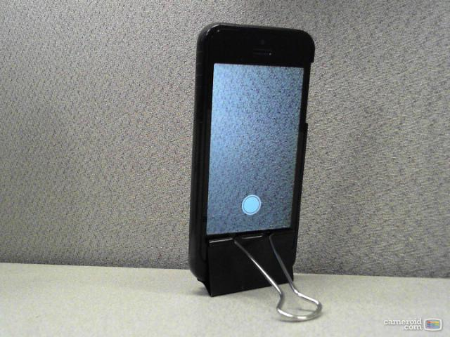 iPhone held upright