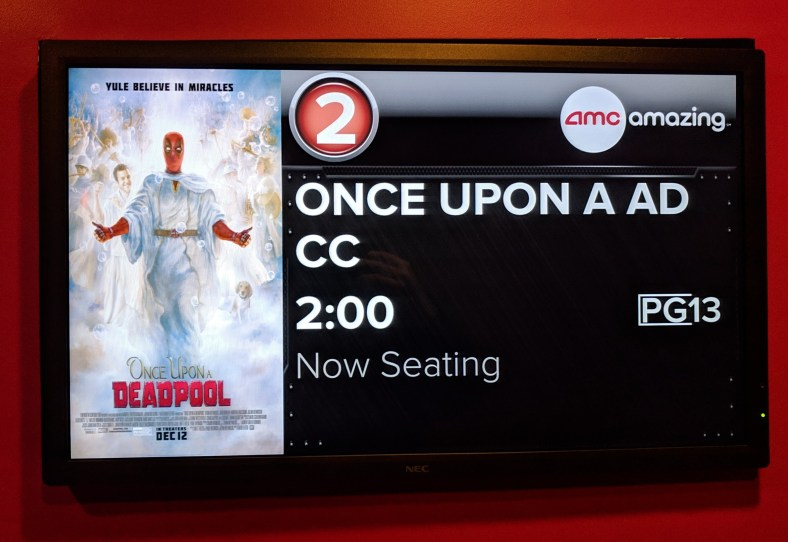 Movie theater marker for Once Upon A Deadpool at 2pm.