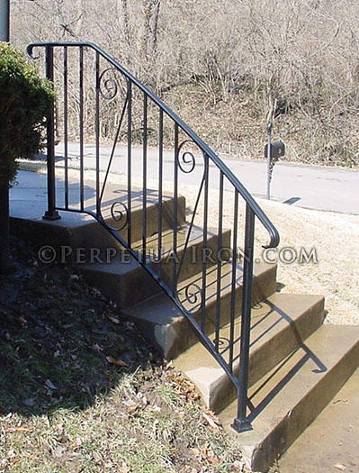 Perpetua Iron Simple Railing Page 2 | Curved Wrought Iron Railings | Colonial | Wood | Wall Mounted | Outdoor | Veranda