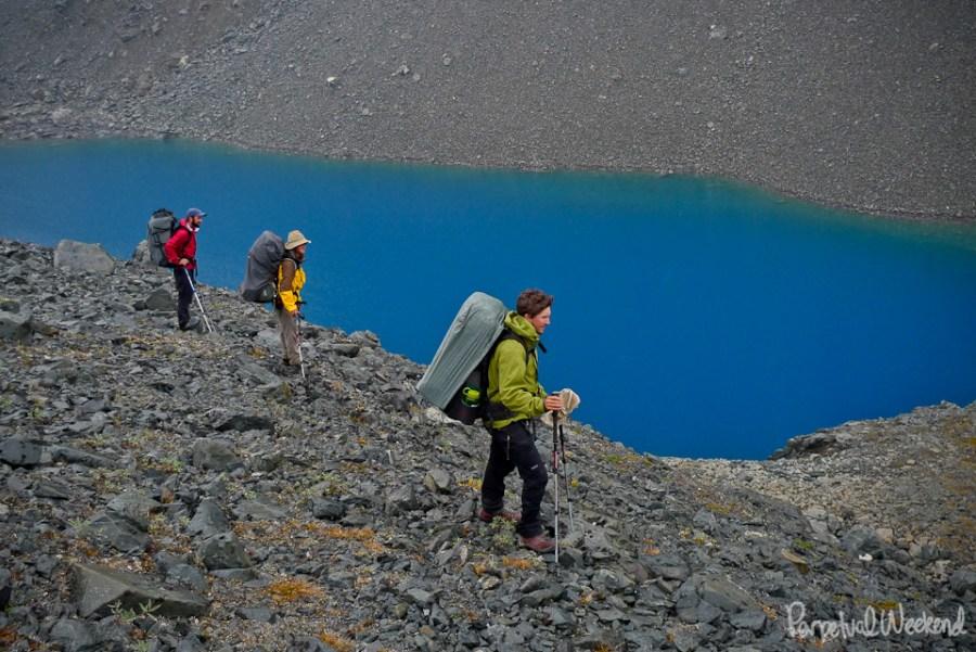 blue lake in water in Alaska