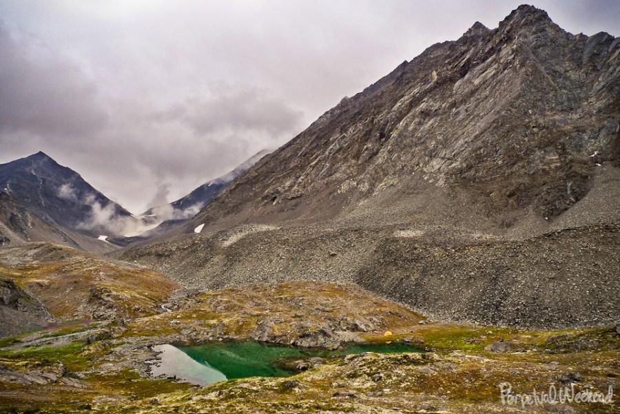 alpine lake camp in alaska