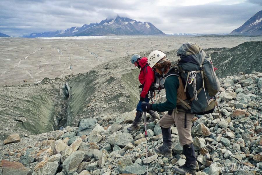 hike glacier moraine in alaska