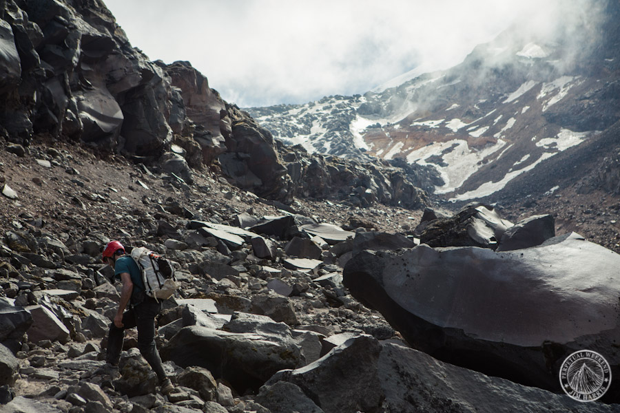 Luc Mehl climbs talus towards Orizaba's snowfields