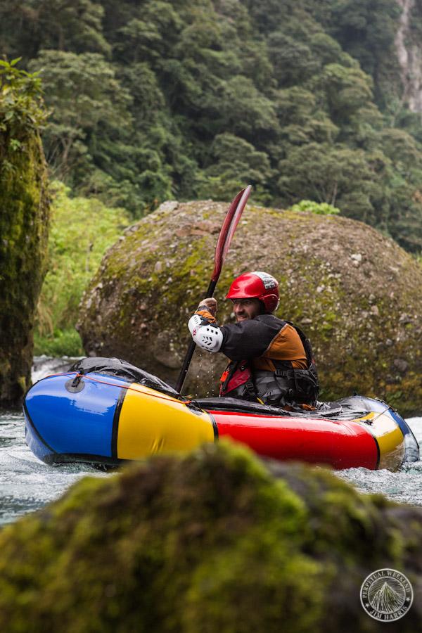 Luc Mehl paddles his Alpacka Raft down the Barranca Grande