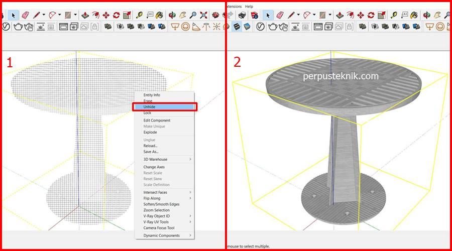 Cara menampilkan objek yang di hide di sketchup
