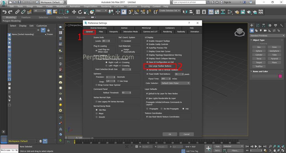 Cara mengecilkan menu di 3ds Max