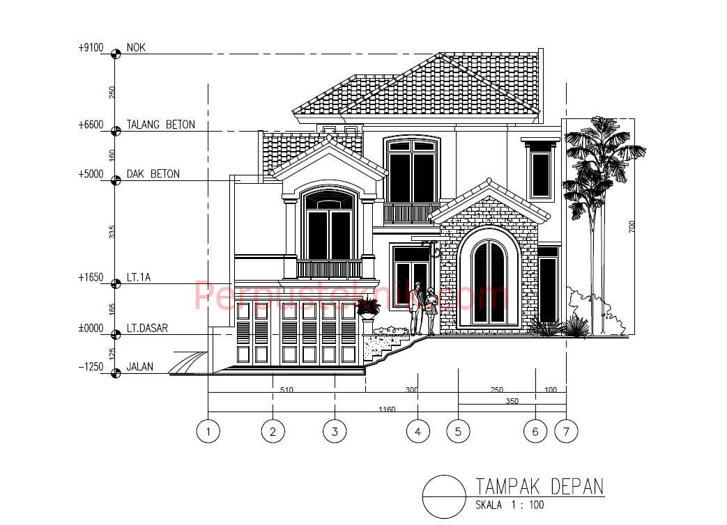 Download gambar Rumah 2 Lantai 1160 x 2565 DWG