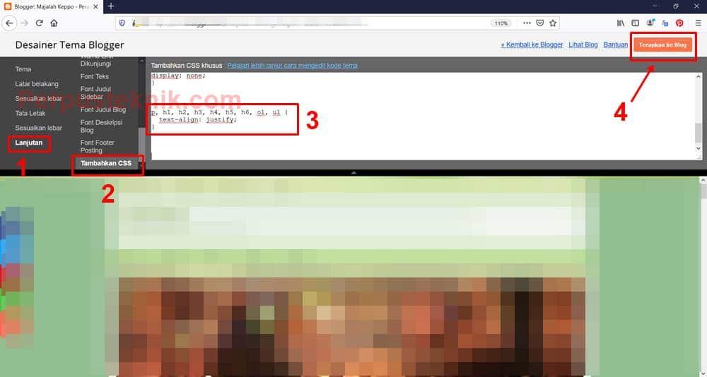 Cara agar tulisan blog rata kanan dan kiri