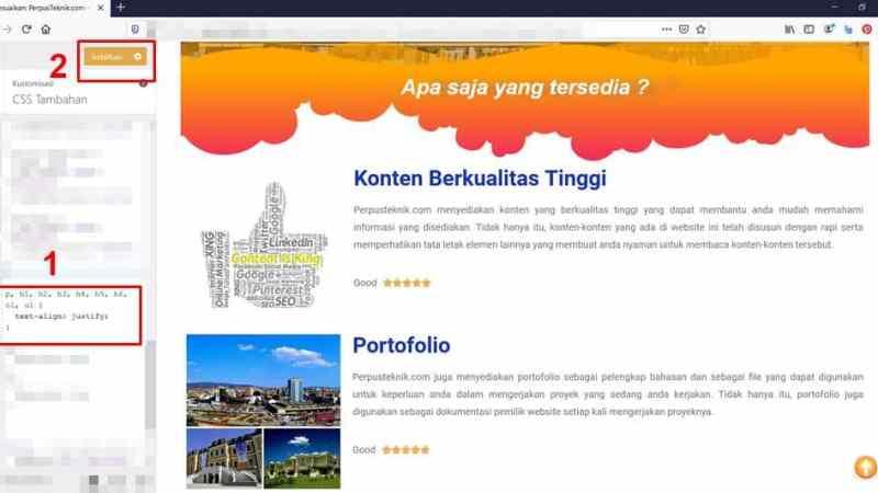 2 Cara agar tulisan blog rata kanan dan kiri
