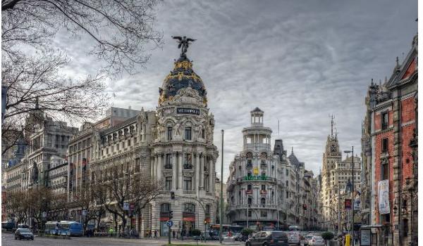 Vista de la fachada de varios edificios de la zona centro de Madrid