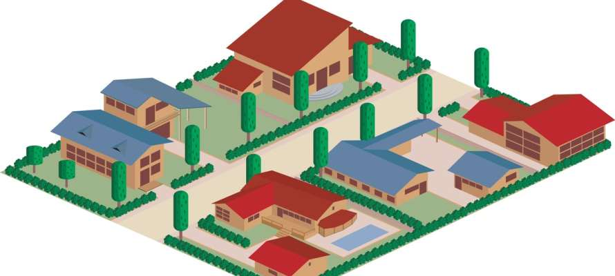 Cartoon map of a residential district area
