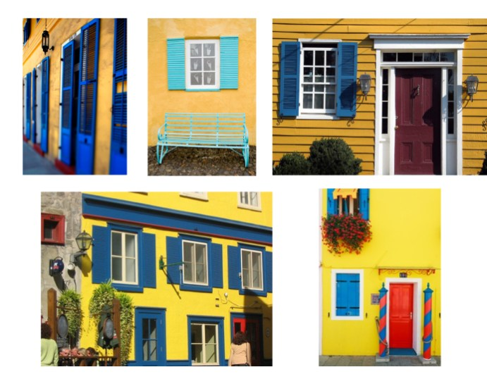 Blue And Red And Yellow House