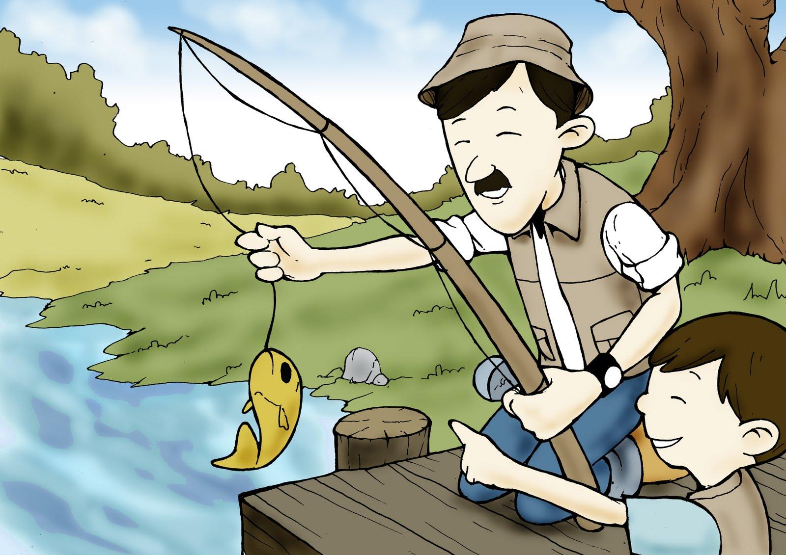 Cara Menggambar Pemandangan Anak Memancing Ikan Info Wisata Hits
