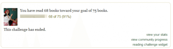 A screenshot of a Goodreads challenge widget.
