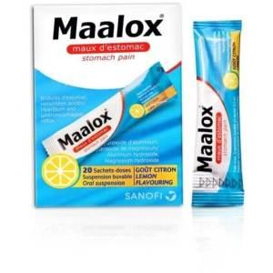 مالوكس، مضاد للحموضة، اكياس نكهة الليمون ، أكياس 5 مل 20 كيس ، حموضة، عسر هضم وانتفاخ. '