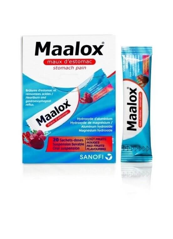 مالوكس، مضاد للحموضة، أكياس نكهة الفواكه الحمراء ، أكياس 5 مل 20 كيس ، حموضة ،عسر هضم وانتفاخ.