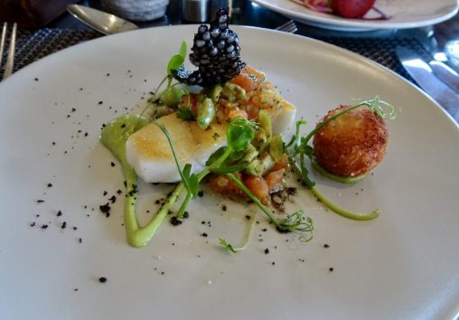 Salt cod & brandade, avocado, black olive & tomato dressing