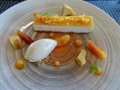 Mascarpone cheesecake, blood orange, honey, milk ice cream