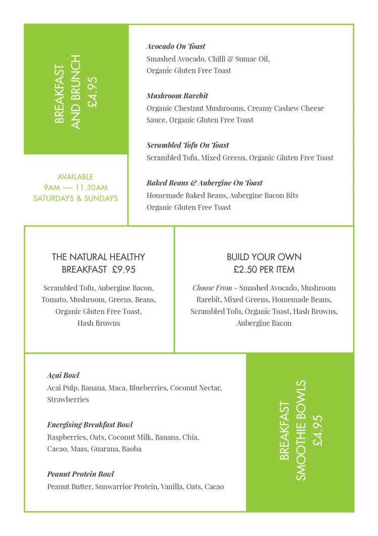 Natural Healthy Foods Brunch Menu
