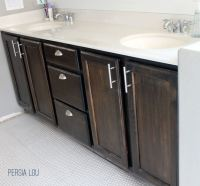 Staining and Updating Bathroom Cabinets - Persia Lou
