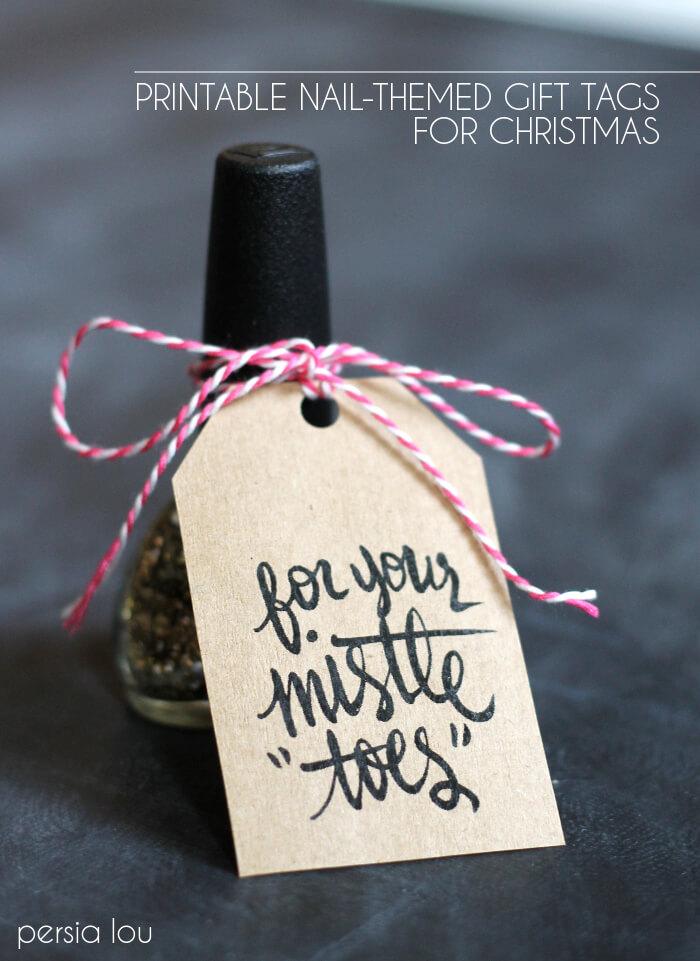 Nail-Themed Printable Christmas Gift Tags